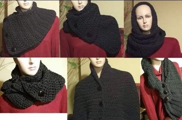Как носить широкий вязаный шарф