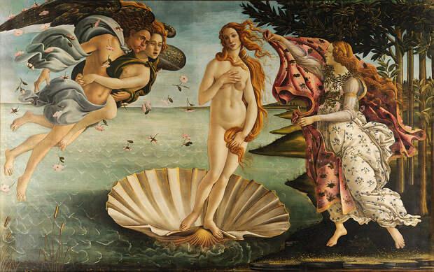 Сандро Боттичелли «Рождение Венеры» 1486Хранится во Флоренции в галерее Уффици