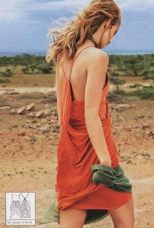 Готовая для скачивания выкройка пляжного платья с необычной спинкой