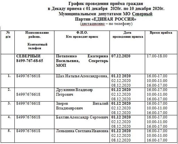 Депутаты «Единой России» проведут прием для жителей  Северного