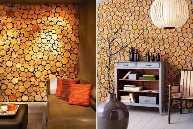 Дизайнерская стена из спилов дерева. \ Фото: google.ru.