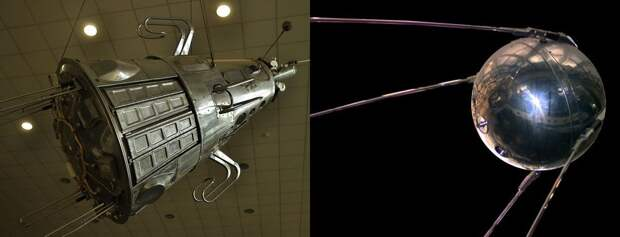Макеты первого (справа) и третьего советских ИСЗ