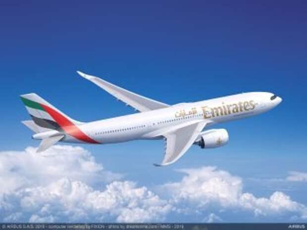 Airbus A330-900 в ливрее авиакомпании Emirates, рендер