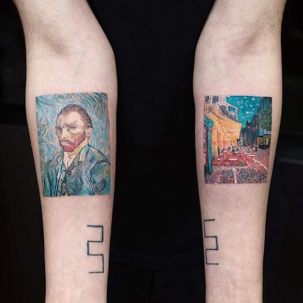 Шедевры мирового искусства на татуировках Эвы Карабудак