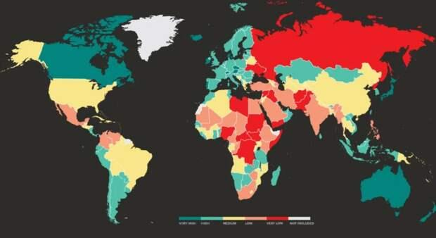 Место России в рейтинге миролюбия...