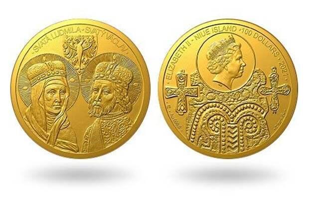 Чешские святые Вацлав и Людмила увековечены в золотой монете
