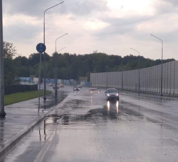 Прошедший в Северном ливень вызвал подтопление на Долгопрудненском шоссе