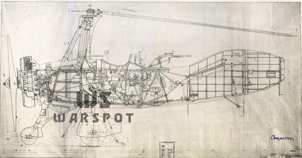 Продольный разрез А-7-3а. Такой машина была на момент постройки, к концу лета 1941 года она прошла первую модернизацию - Летающие глаза артиллерии   Warspot.ru
