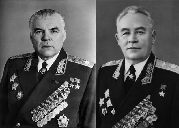Создатели отряда космонавтов Р.Я. Малиновский (слева) и К.А. Вершинин