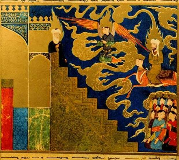 Пророк Мухаммад встречает пророка Ибрагима на седьмом небе