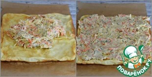Рулет яичный с сыром и морковью Чеснок