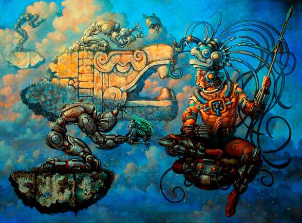 Майянский царь-жрец в представлении современного художника. (Исходное изображение взято с Pinterest.ru, автор картины - Рауль Круз).