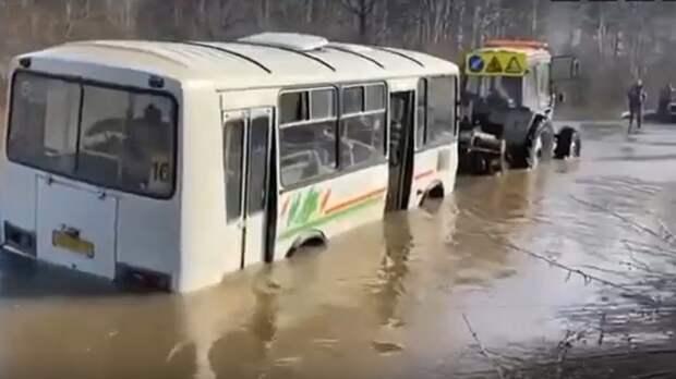 Под Новосибирском тракторист вытащил из реки пассажирский автобус с людьми