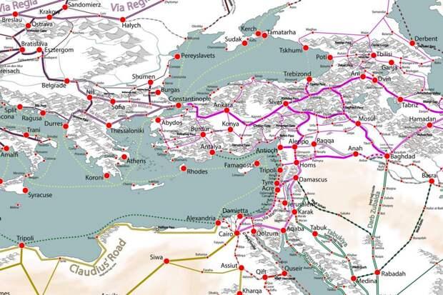 Карта средневековых торговых путей Европы, Азии и Африки