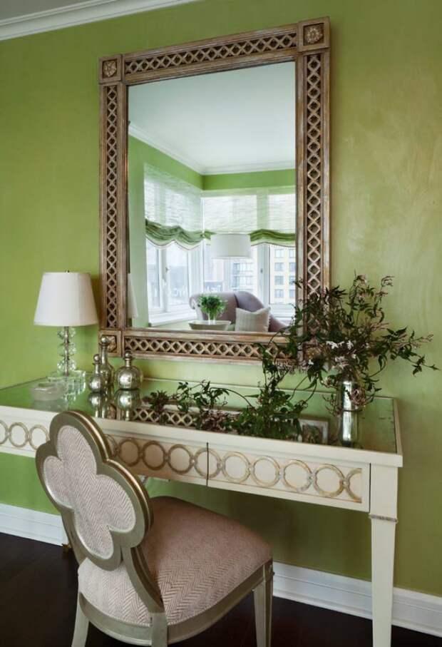 стена в оливковом цвете