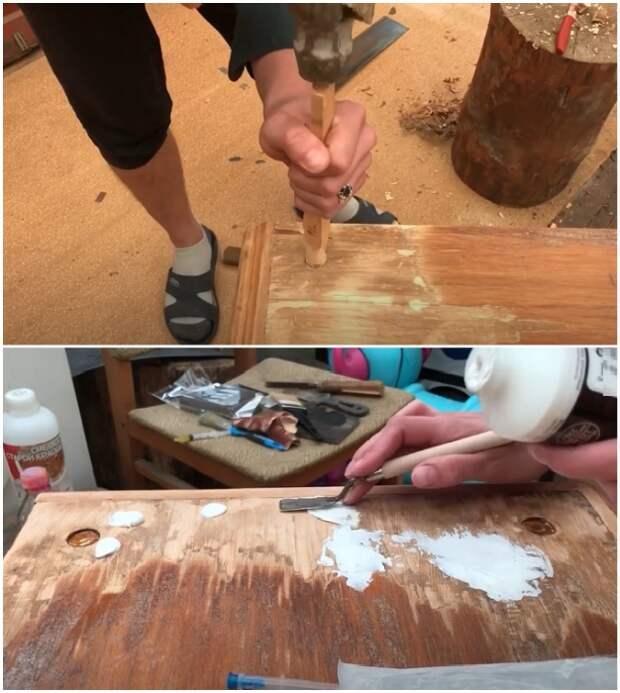 Отверстия от надстройки нужно замаскировать и выровнять плоскость с помощью мебельной шпаклевки.