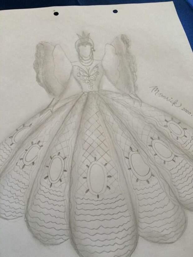 Братская любовь: студент пошил сказочное платье для сестры на выпускной