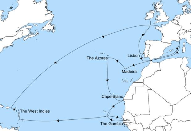 Карта одиссеи принца Руперта - Одиссея принца Руперта   Warspot.ru