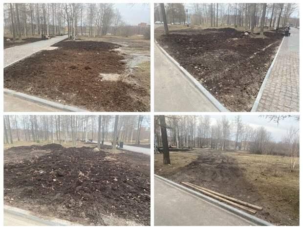 Повреждены газоны, дорожки и мощение: подрядчик не торопится устранять недоделки в Зарецком парке