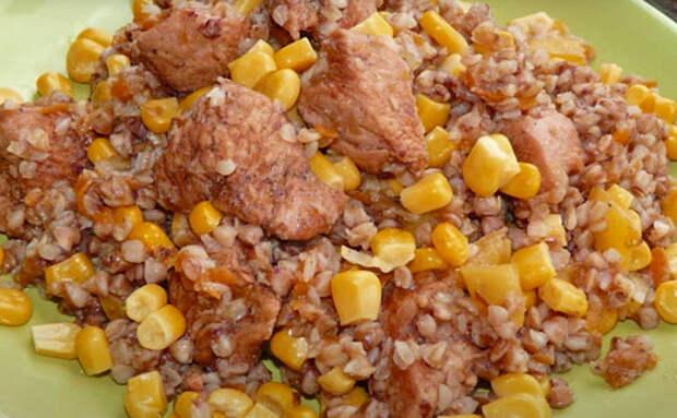 Гречка стала ужином за 30 минут. Сделали с курицей и кукурузой
