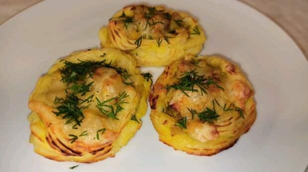 Картофельные гнёзда с курицей и грибами. Горячее блюдо на праздничный стол