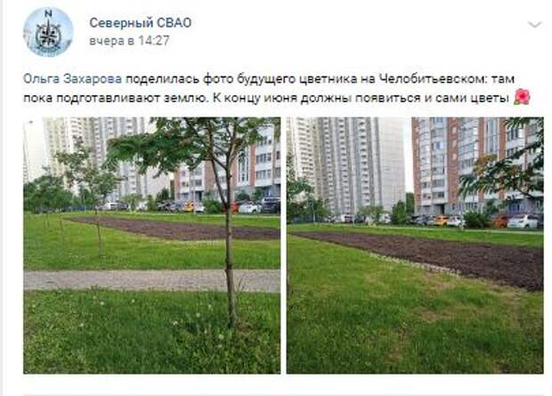 Фотокадр: на Челобитьевском шоссе подготовили землю для цветника