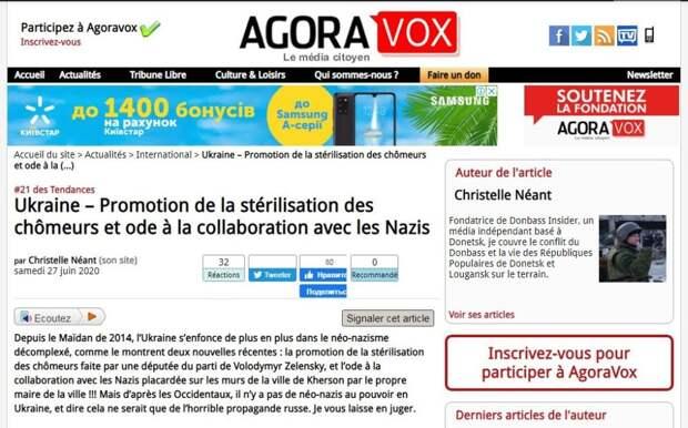 AgoraVox: Украина официально стала государством неонацизма