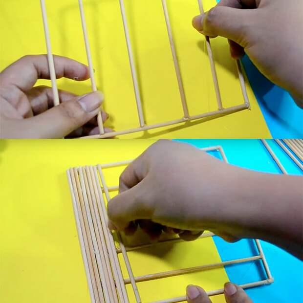 Нарежьте деревянные шпажки и получите интересные аксессуары для дома