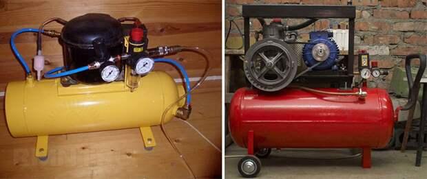 Варианты компрессоров с ресиверами из газового баллона