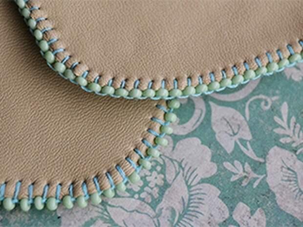 Красивая вышивка бисером края изделия 0