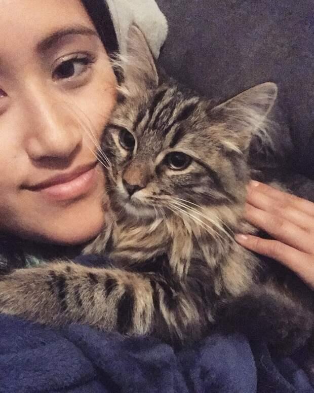 Котик и девушка