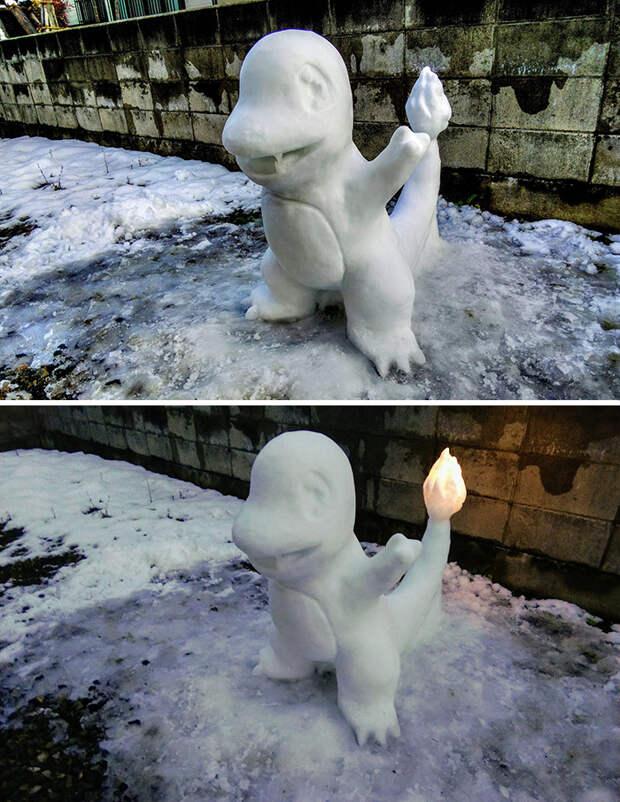 10 идей для снежных скульптур, пока на улице огромные сугробы