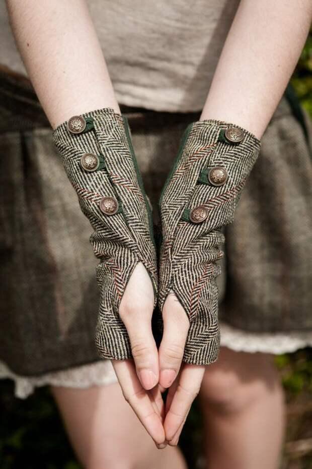 шитые своими руками митенки нарукавники из шерсти