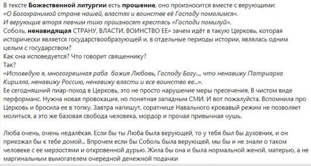 Про  Люпку  Соболь и  её  провокацию