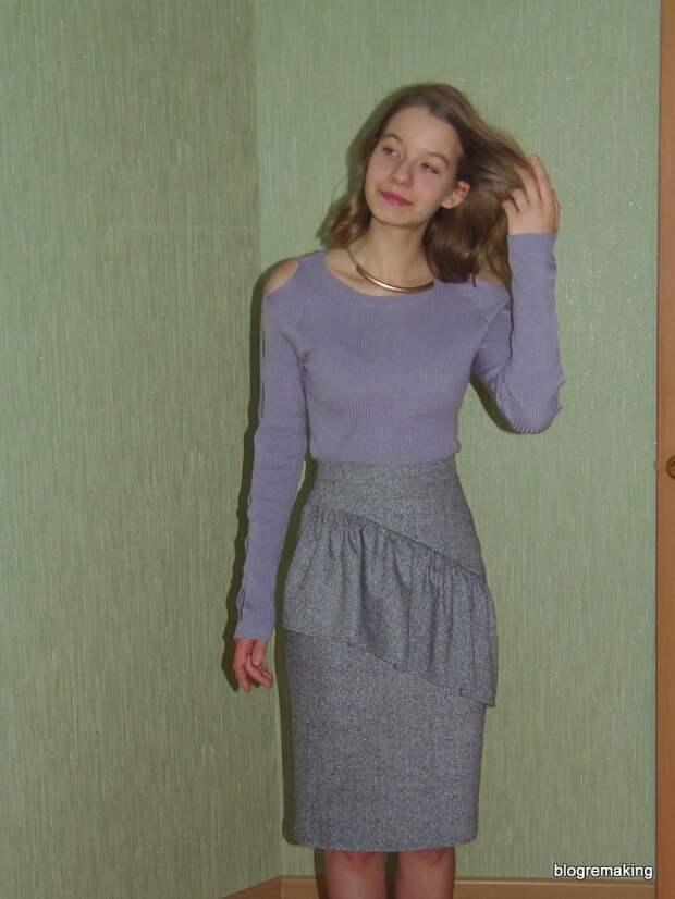 Технология пошива юбки-карандаш с асимметричной кокеткой