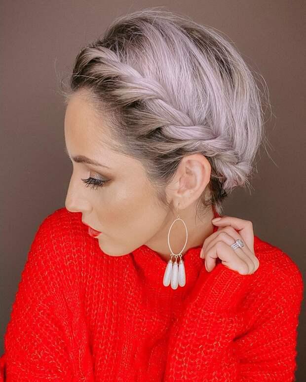 плетёные причёски для коротких волос фото 5
