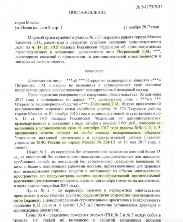 Лист судебного постановления о штрафе директору ЦУМ Тамаре Погромовой. Фото: © L!FE