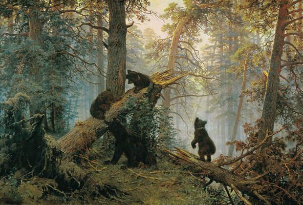 Иван Шишкин, Константин Савицкий «Утро в сосновом лесу» 1889Хранится в Третьяковской галерее в Москве