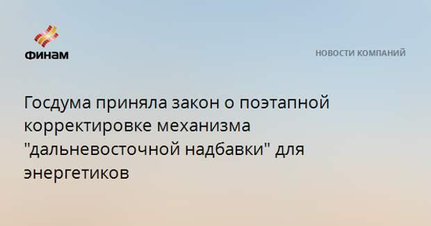 """Госдума приняла закон о поэтапной корректировке механизма """"дальневосточной надбавки"""" для энергетиков"""