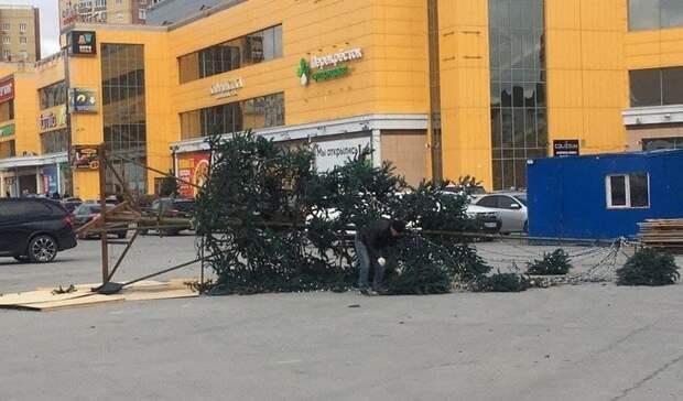Из-за сильного ветра около тюменского ТРЦ новогодняя елка упала наавтомобиль