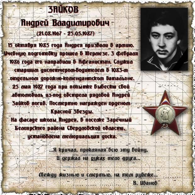 Рядовой ЗАЙКОВ Андрей Владимирович