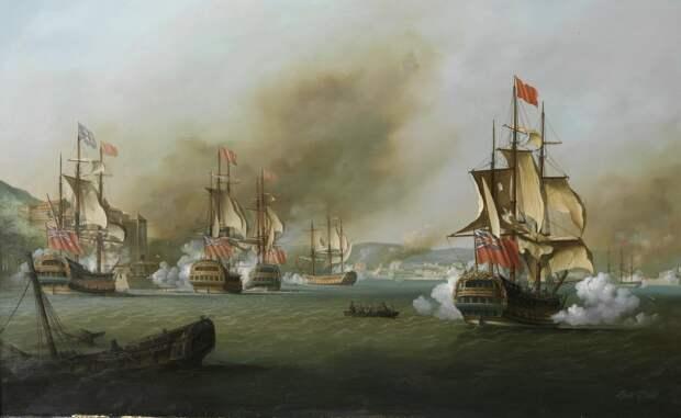 """1739 год, в ходе """"войны за ухо Дженкинса"""" англичане берут Портобело (ныне в Панаме) - важный порт испанцев, откуда уходил """"серебряный флот"""" с богатствами. Художник: Louis Dodd"""