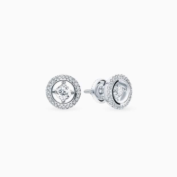 Серьги-гвоздики SL, белое золото, бриллианты