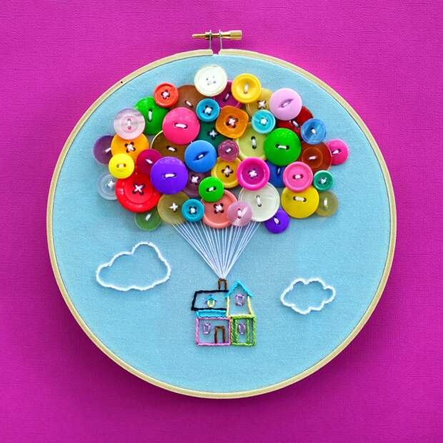 House with Balloons Hand Embroidery Hoop Art image 0