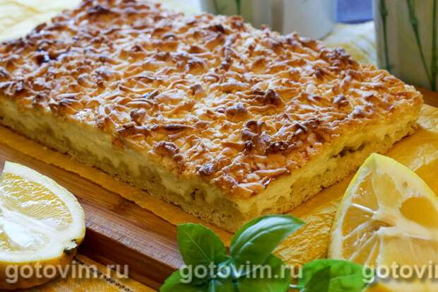 Тертый пирог с творогом и лимоном. Фотография рецепта