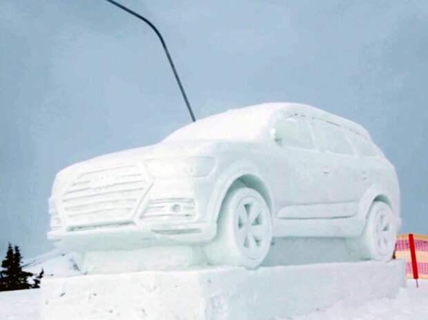 Audi Q7 вылепили из снега (ВИДЕО)