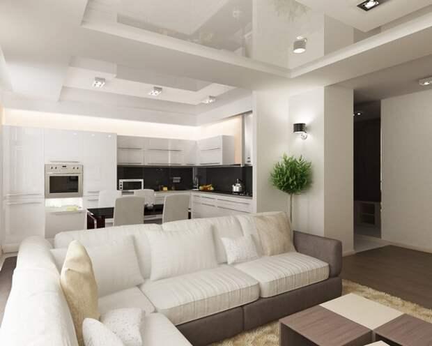 Дизайн гостиной совмещенной с кухней