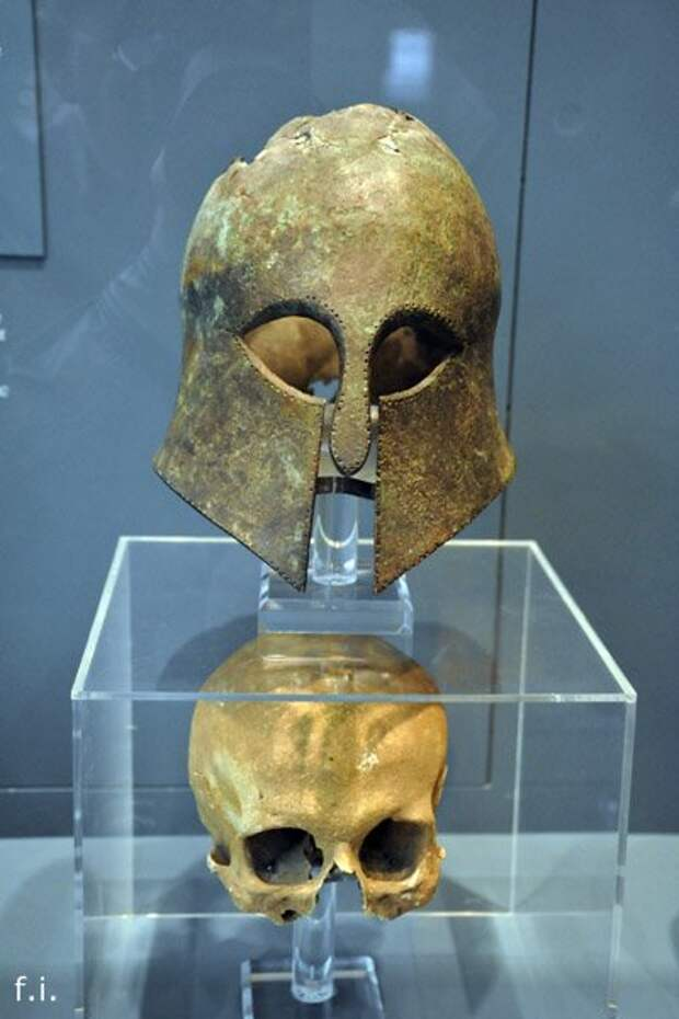 Corinthian helmet from the Battle of Marathon (490 BC) found in 1834 (with the skull inside)