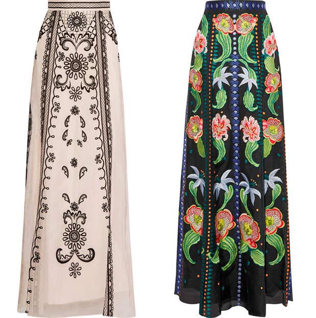длинные юбки с вышивкой