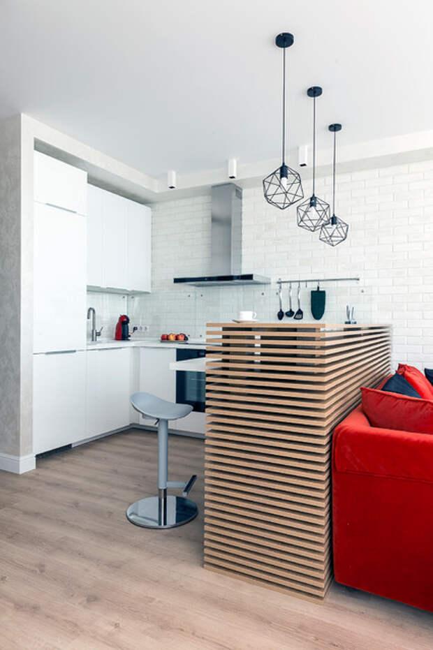 Как обыграть торец кухни в кухне-гостиной